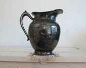 Antique Silverplate Pitcher, French Country Farmhouse Decor