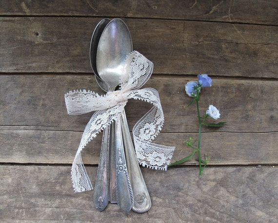 Set of Four Antique Tea Spoons, Rustic Serving and Home Decor