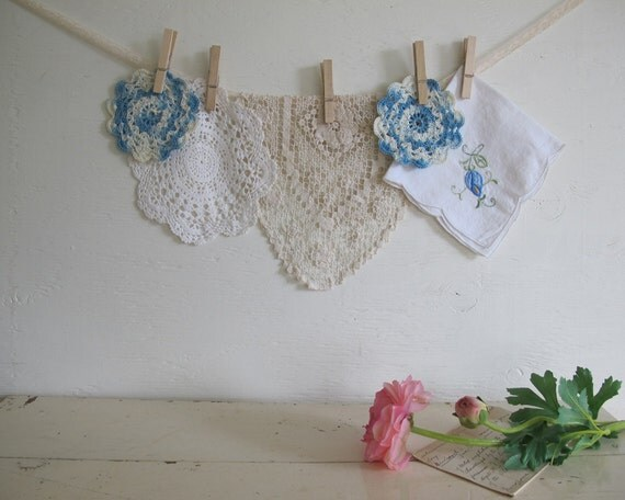 Vintage Blue and White Linen Collection, Doilies, Romantic Farmhouse Decor