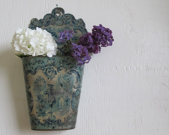 Antique Blue Victorian Brush Holder, Tin, Shabby Chic