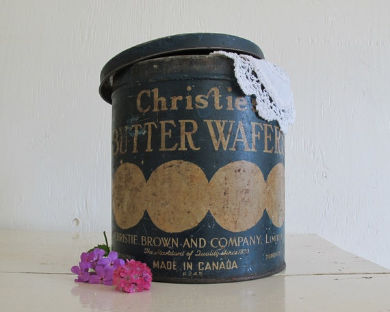 RESERVED /// Large Antique Cookie Tin, Rustic Home Decor and Storage
