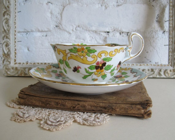 Antique Teacup and Saucer, Asian Inspired Florals, Court China, Made in England circa 1920s