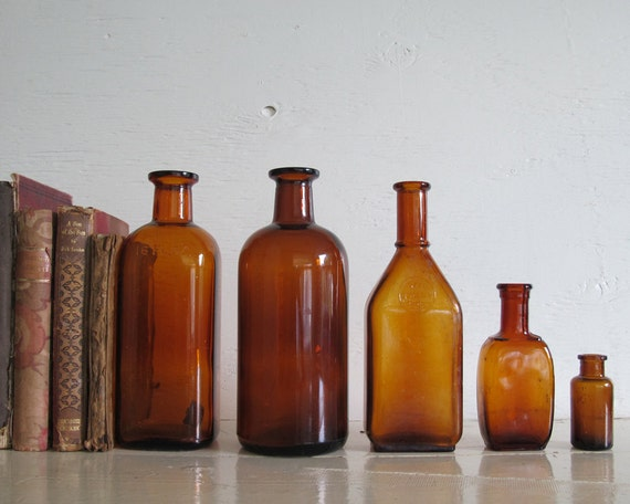 Antique Amber Apothecary Bottle Collection, Set of 5, Rustic Autumn Decor