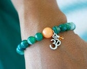 String of Luck Bead Bracelet  (Gemstone Agate with OM Charm)