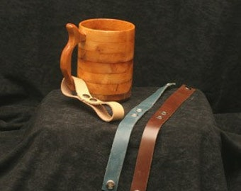 Mug or Tankard Straps for Beer Mugs, Steins, Wooden Drinking Vessel Strap, Strap for Beer Mug, Leather Strap for Stein