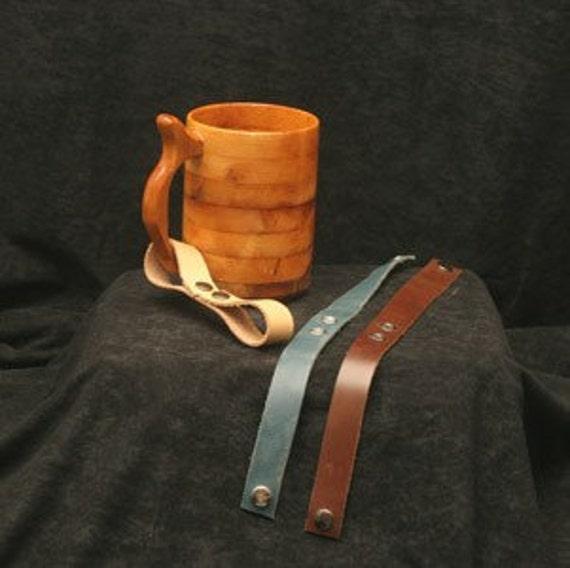 Mug or Tankard Straps for Beer Mugs, Steins, Wooden Drinking Vessel Strap, Strap for Beer Mug, Leather Strap for Stein