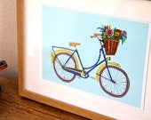 Bicycle Illustration Print, Blue bike with flowers in basket, A4 Art Print