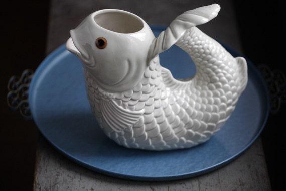 Vintage Cuernavaca Pottery Fish Pitcher / Vase