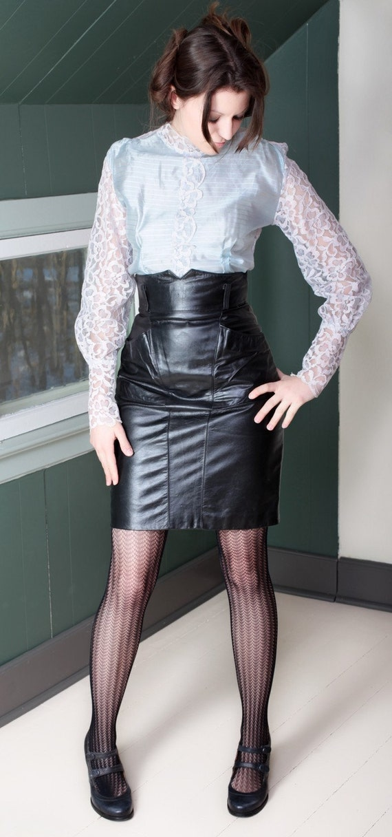 Sexy Black High Waisted Leather Skirt