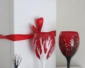 Black, White, and Red Cherry Blossom Tree Wine Glasses