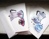 Espresso Coffee Cards, Watercolor Art Notecards, Set of 12