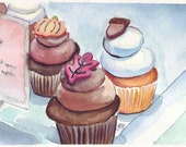 Framed Cupcake Watercolor Art, Sweet Fall Cupcakes, Original Painting 6x9 Framed to 11x14, FREE SHIPPING