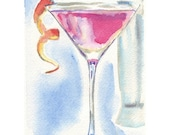 Watercolor Painting - Cocktail Art- Pink Cosmo Cocktail Watercolor Art Print, 5x7 Art