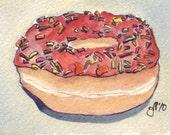 Watercolor Painting - Donut Art - Orange Brown Fall Original Watercolor - ACEO Original Art