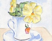 CLEARANCE Still Life Watercolor Painting Art Print - Teacup with Yellow Flower 5x7