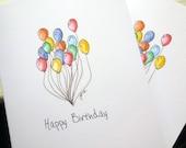 Balloon Art Birthday Cards, Watercolor Art Notecards, Set of 12