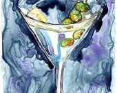 Watercolor Painting - Martini on Yupo Watercolor Art Print, 5x7