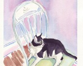 Watercolor Painting - Cat on Chair Watercolor Art Print, 5x7
