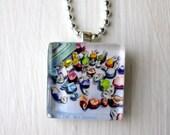 Salt Water Taffy Necklace,Candy Glass Tile Pendant Necklace, Wearable Watercolor Art