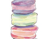 Macarons Art no. 1 Watercolor Painting - Food Illustration - Macarons Stack Watercolor Art Print, 5x7