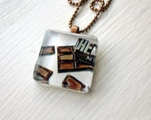 Chocolate Necklace, Glass Tile Pendant Necklace, Wearable Watercolor Art