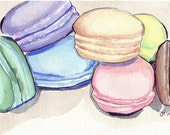 Macarons Art no. 4 Watercolor Painting - Macarons Pile Watercolor Art Print, 5x7