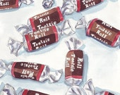 Watercolor Painting - Tootsie Rolls Art, Watercolor Art Print, 5x7 Art Print