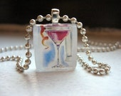Martini Pendant Necklace Cosmo Cocktail Art Jewelry Glass Tile