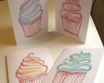 Birthday Greeting Cards - Watercolor Cupcake Art Birthday Cards, Set of 4