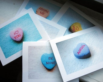 Valentines Cards Candy Heart Photo Note Cards - Cute Valentines Cards - Set of 12