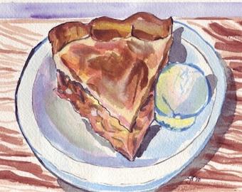 Apple Pie Still Life Watercolor Painting - Apple Pie ala Mode Watercolor Art Print, 5x7