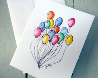 Stationery Set of Colorful Balloon Art Cards - Colorful Balloons Notecards, Watercolor Art Cards, Set of 4