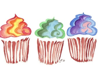 8x10 Cupcake Watercolor Painting - Rainbow Swirl Cupcake Art Print Wall Art, 8x10