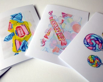 Classic Candy Card Set - Candy Watercolor Art Notecards (Ed. 2), Set of 12 - Bubble Gum, Smarties, Lollipops, and Button Candy