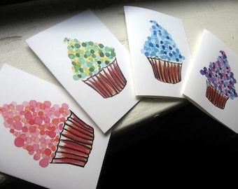 Cupcake Watercolor Art Notecards (Ed. 4), Dot Cupcakes Greeting Cards,  Set of 8