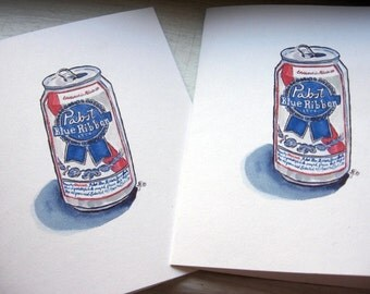 Hipster Stationery - PBR Beer Watercolor Art Notecards, Set of 12