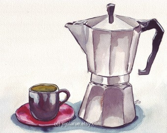 Watercolor Painting - Espresso Coffee Art Print, Espresso Maker with Cup (no. 1) Watercolor Art Print, 5x7