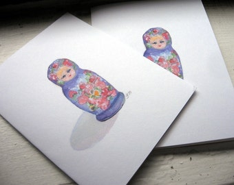 Notecard Set - Matrushka Nesting Doll Cards - Watercolor Art Note Cards, Set of 8