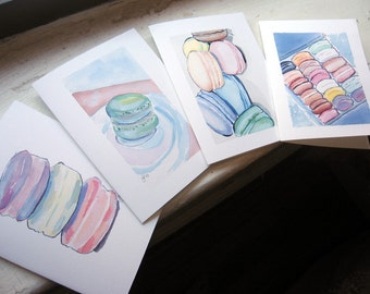 Macaron Watercolor Art Notecards, Set of 4