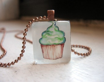 Charm Necklace - Green Cupcake Necklace - Watercolor Art Pendant Necklace