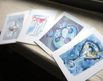 Martini Cards Cocktail Watercolor Art Note Cards, Set of 12