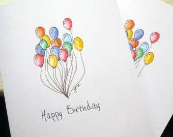 Balloon Art Birthday Cards, Watercolor Art Notecards, Set of 12