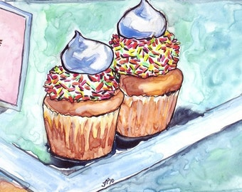 Kitchen Watercolor Art Painting, Cupcakes with Sprinkles Watercolor Art Print, 5x7