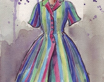 Watercolor Painting - Fashion Illustration - Vintage Striped Dress Watercolor Art Print, 8x10 Fashion Art