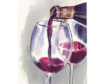 Red Wine Glass Pour, Watercolor Art Print, 8x10 Limited Edition Print