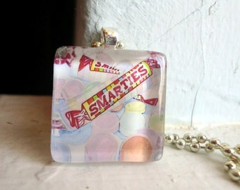 Smarties Candy Necklace, Glass Tile Pendant Necklace, Wearable Watercolor Art