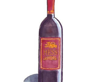 Watercolor Painting Print - Red Wine Bottle - Watercolor Art Print, 5x7