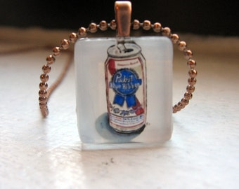 Pabst Necklace - PBR Beer Necklace - Hipster Watercolor Art Glass Tile Necklace