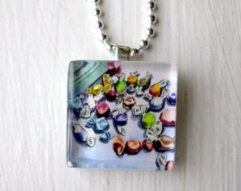 Salt Water Taffy Necklace,Candy Glass Tile Pendant Necklace, Wearable Watercolor Art