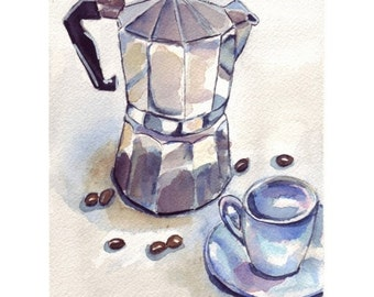 11x14 Coffee Watercolor Painting - Still life - Espresso Maker with Cup 2 Watercolor Art Print, 11x14 Wall Art